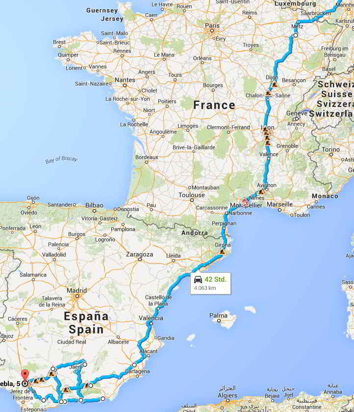 Andalusien-Anreise-Karte