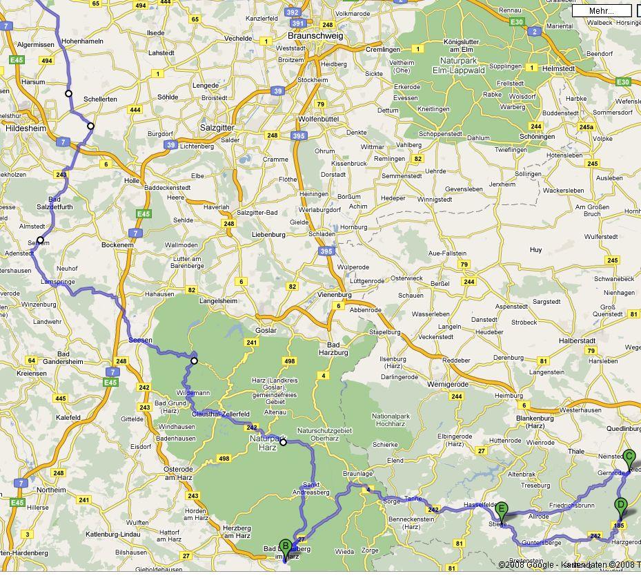 2008-07-13 HarzTour Rundfahrt Karte