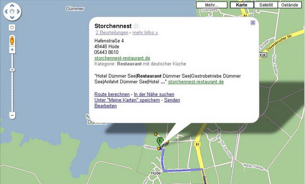 Karte am Dümmer - Storchennest