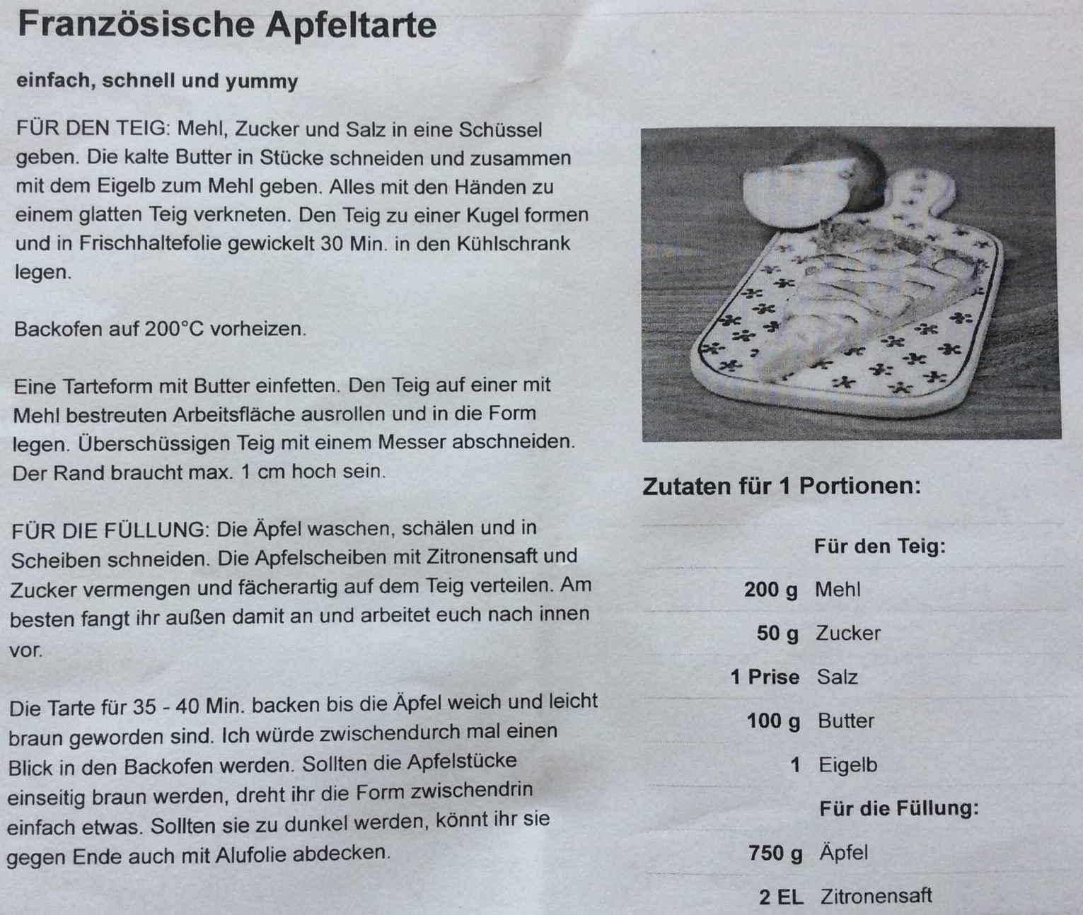 Kochgruppe Rezept Apfeltarte
