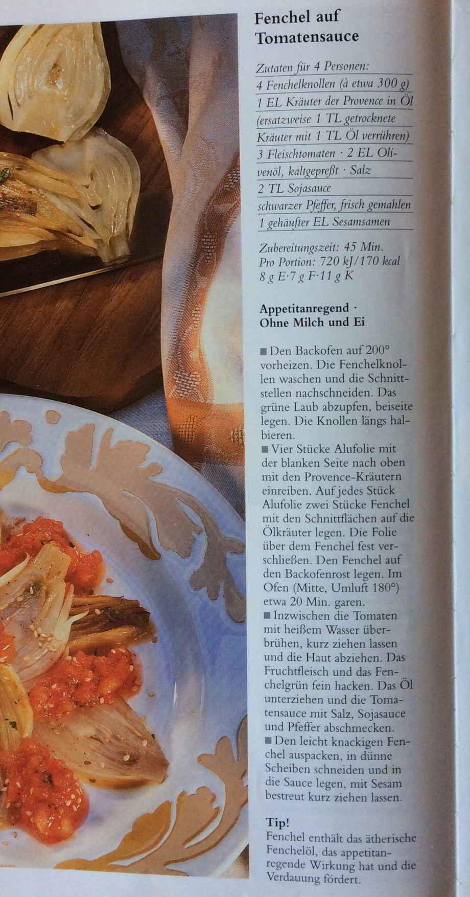 Kochgruppe Rezept Fenchel auf Tomatensauce