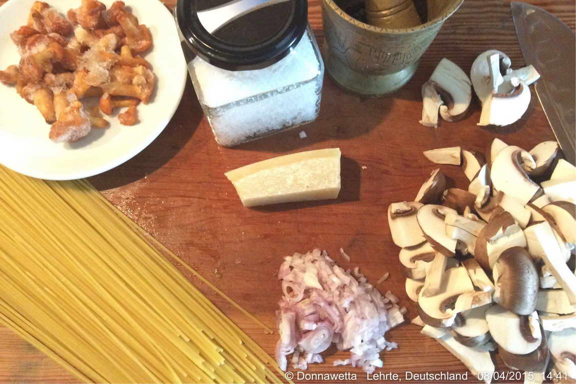 Nudeln mit Pilz Sahne Sauce-Vorbereitung