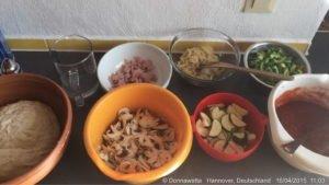 Vorbereitungen Pizza