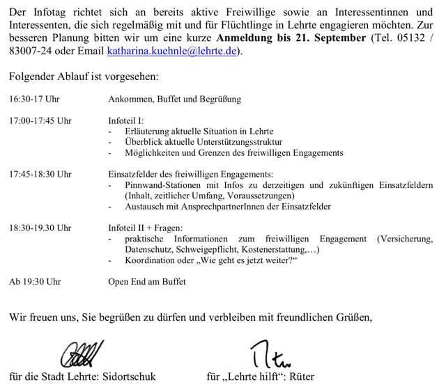 Info-Tag - Programm der Veranstaltung
