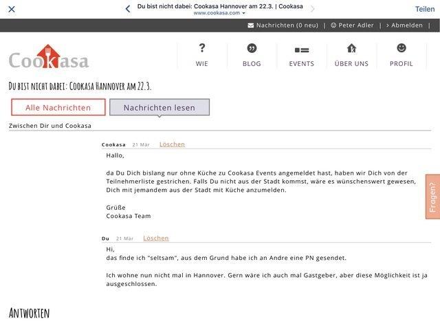 Cookasa Absage im Dashboard und Nachricht