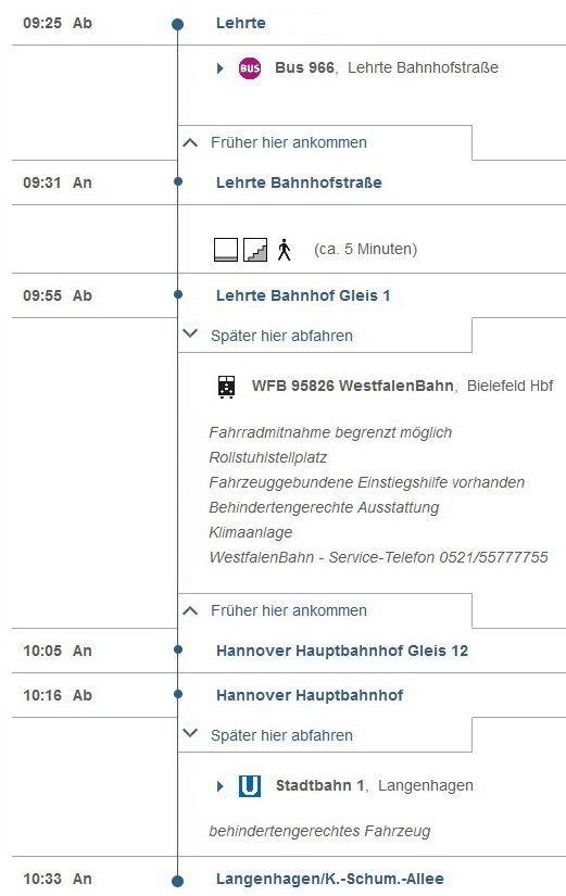 Fahrplan Lehrte-Hannover