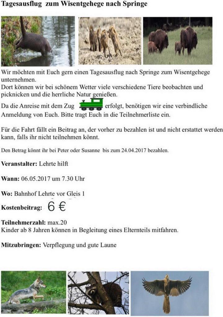 Infoblatt Tagesausflug von Susanne