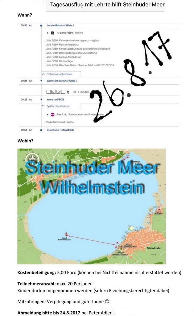 Flyer Tagesausflug mit Lehrte hilft Steinhuder Meer