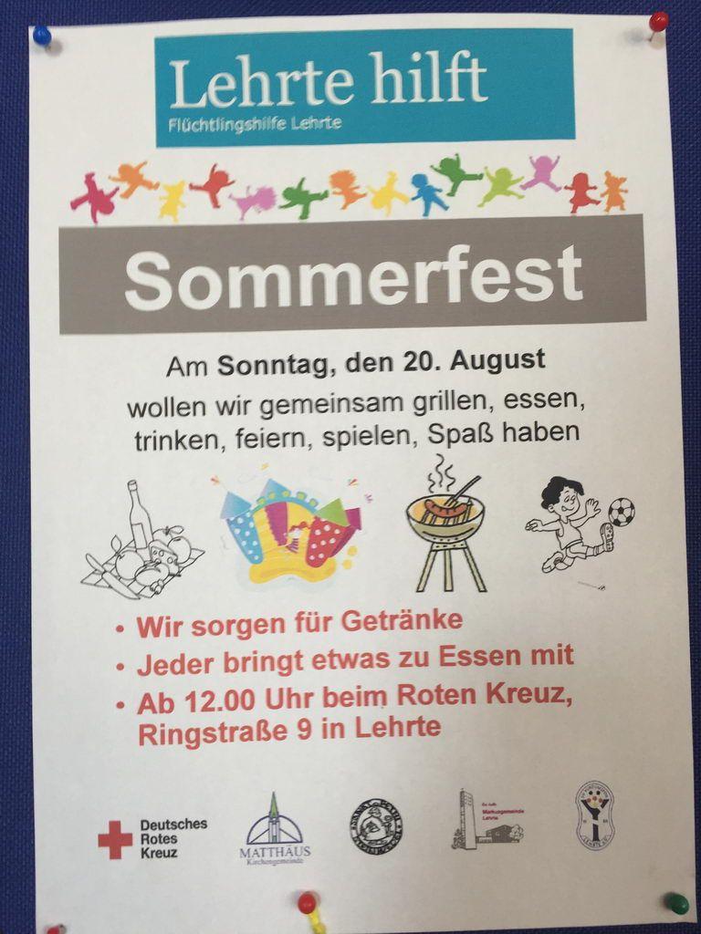Einladung zum Sommerfest mit Lehrte hilft