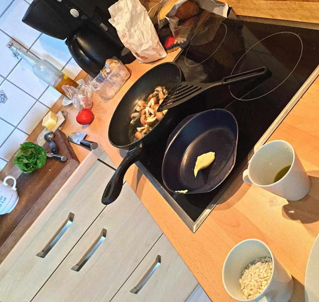 Vorbereitungen - Filet an Champignon-Risotto mit Salat