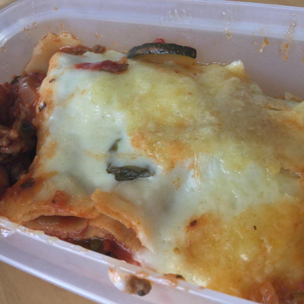 große Portion Lasagne zur Mitnahme für mich