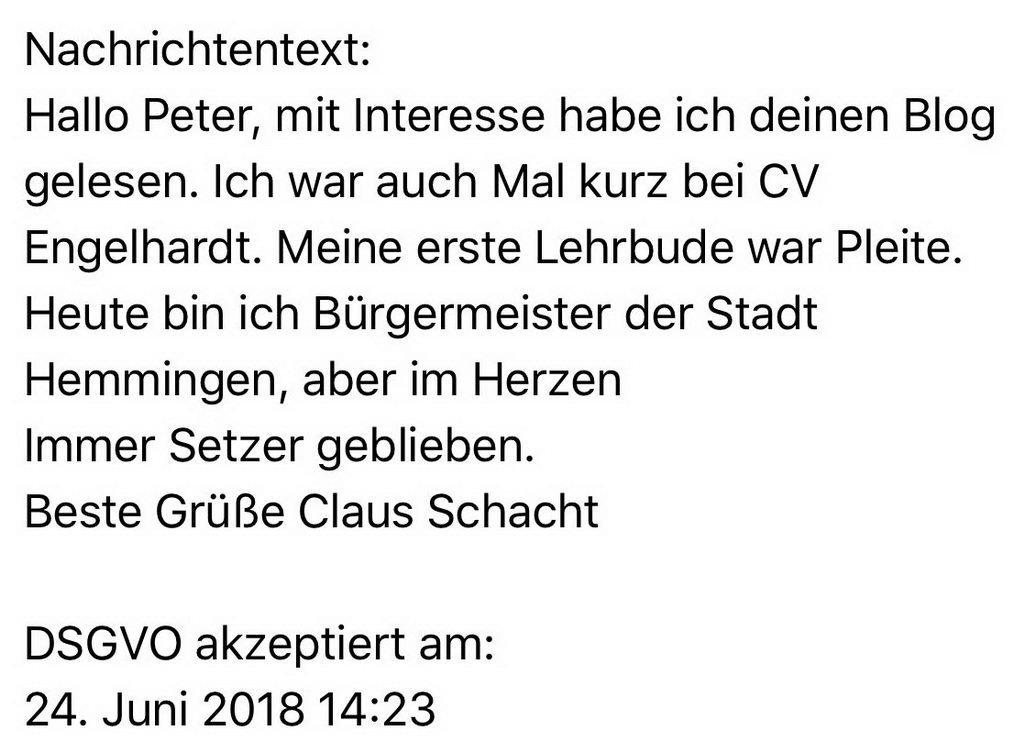 Mail zwischendurch von altem Lehrkumpel (hoffe, dass das so iO ist Claus)