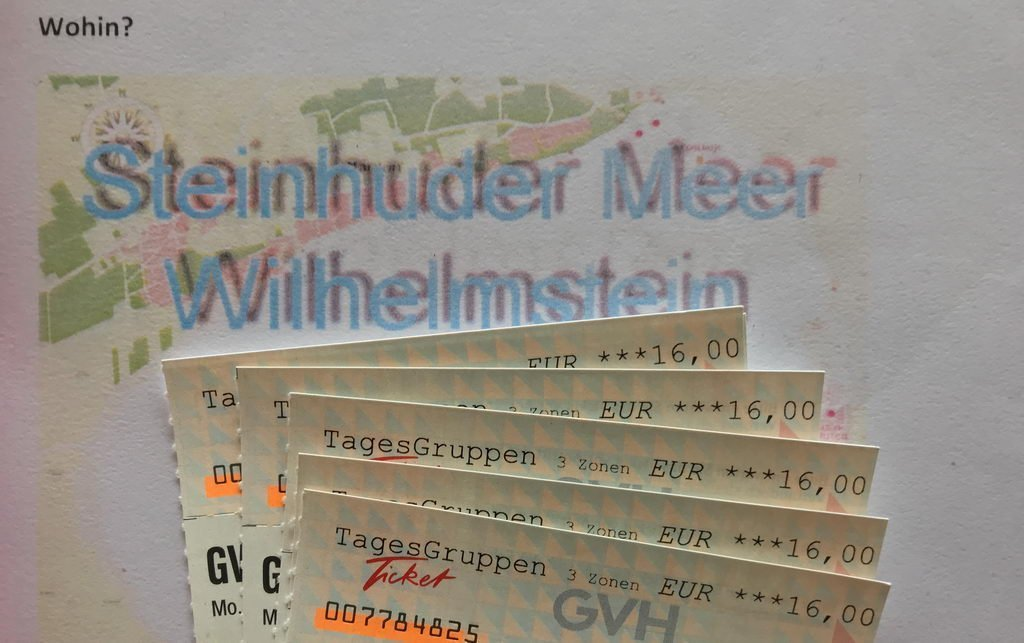 Fahrkarten für Ausflug zum Steinhuder Meer
