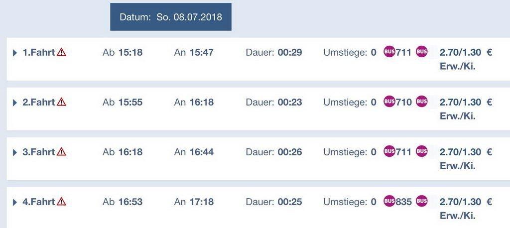 Fahrplan retour - Ausflug Steinhuder Meer