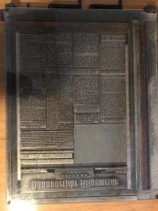 Zeitungsseite im Blei - einer der letzten Ausgaben