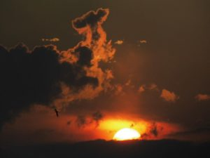 Abends auf Balkon Sonnenuntergang