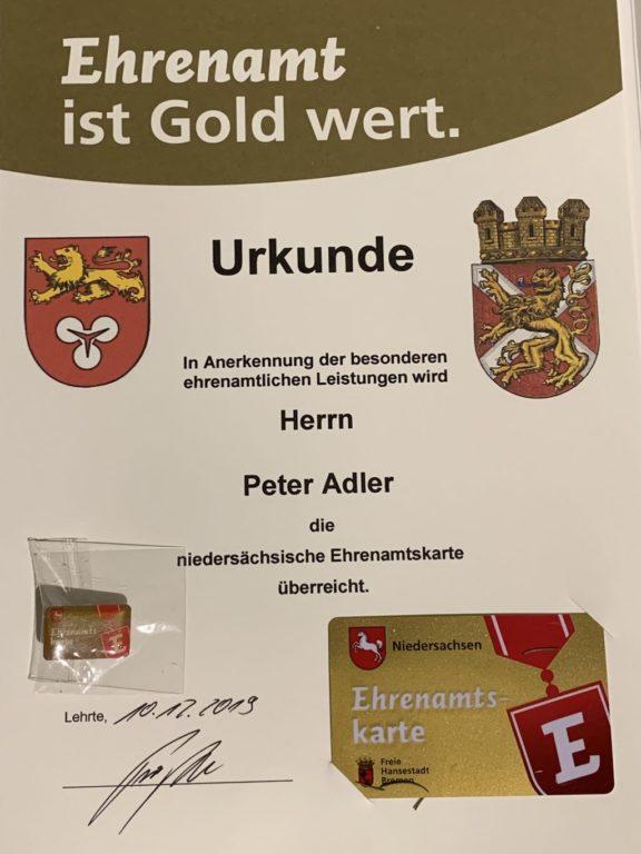 Ehrenamtskarte Niedersachsen - Urkunde und Karte