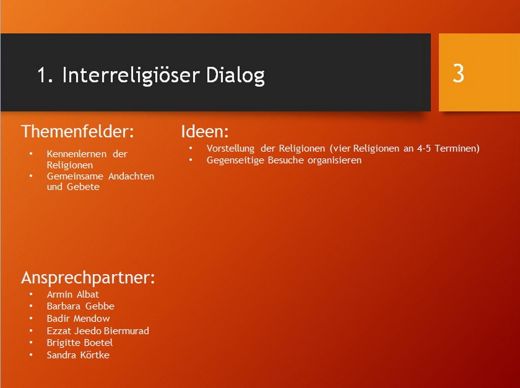 Gemeinsam Integration gestalten - Interreligiöser Dialog