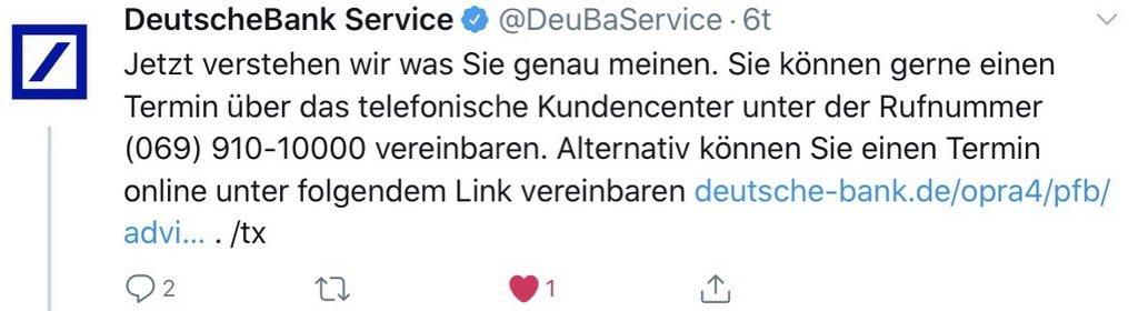 Antwort Twitterteam Deutsche Bank