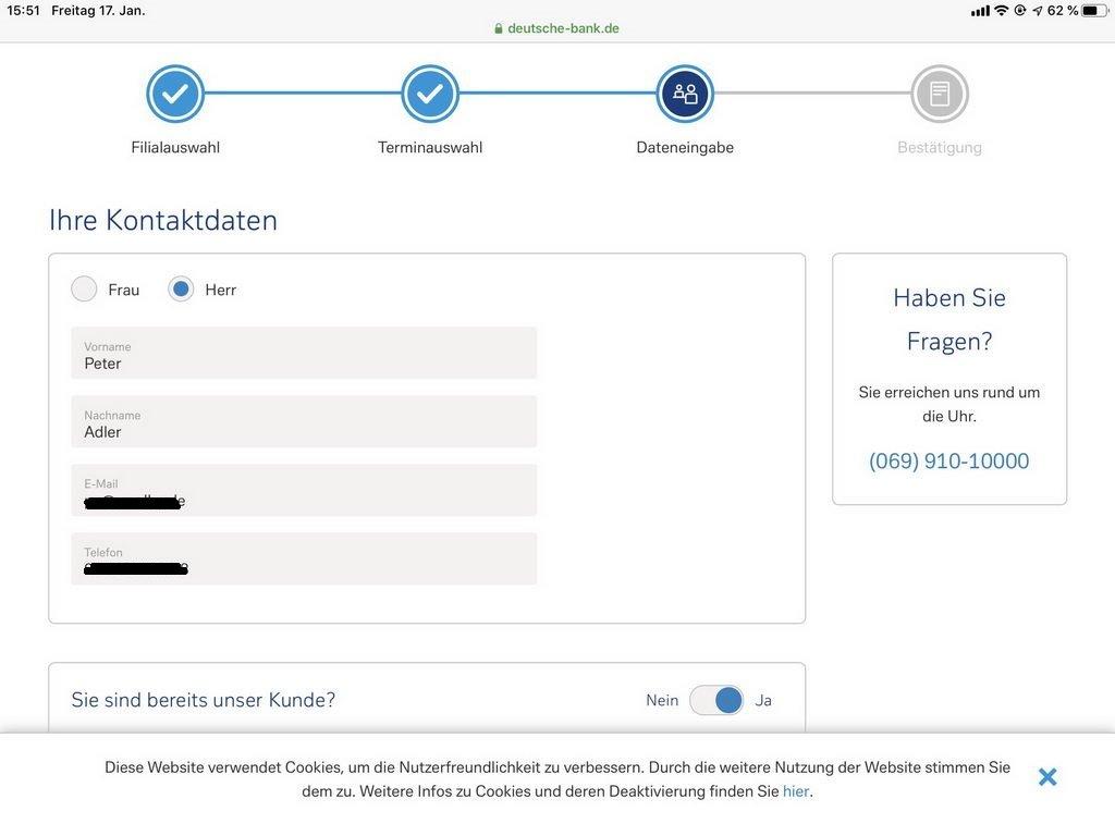 Terminabsprache im Portal