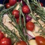 Poularde - Calvados - Kräuter und Beilagen - Rosmarin dazu