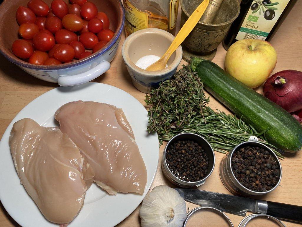 Poularde - Calvados - Kräuter und Beilagen - Zutaten