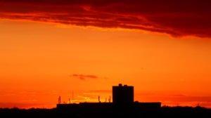 Abend mit Abendrot auf Balkon