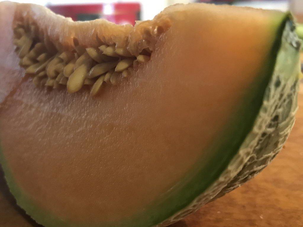 Spargel gebacken mit Vinaigrette und Poularde - Galia-Melone