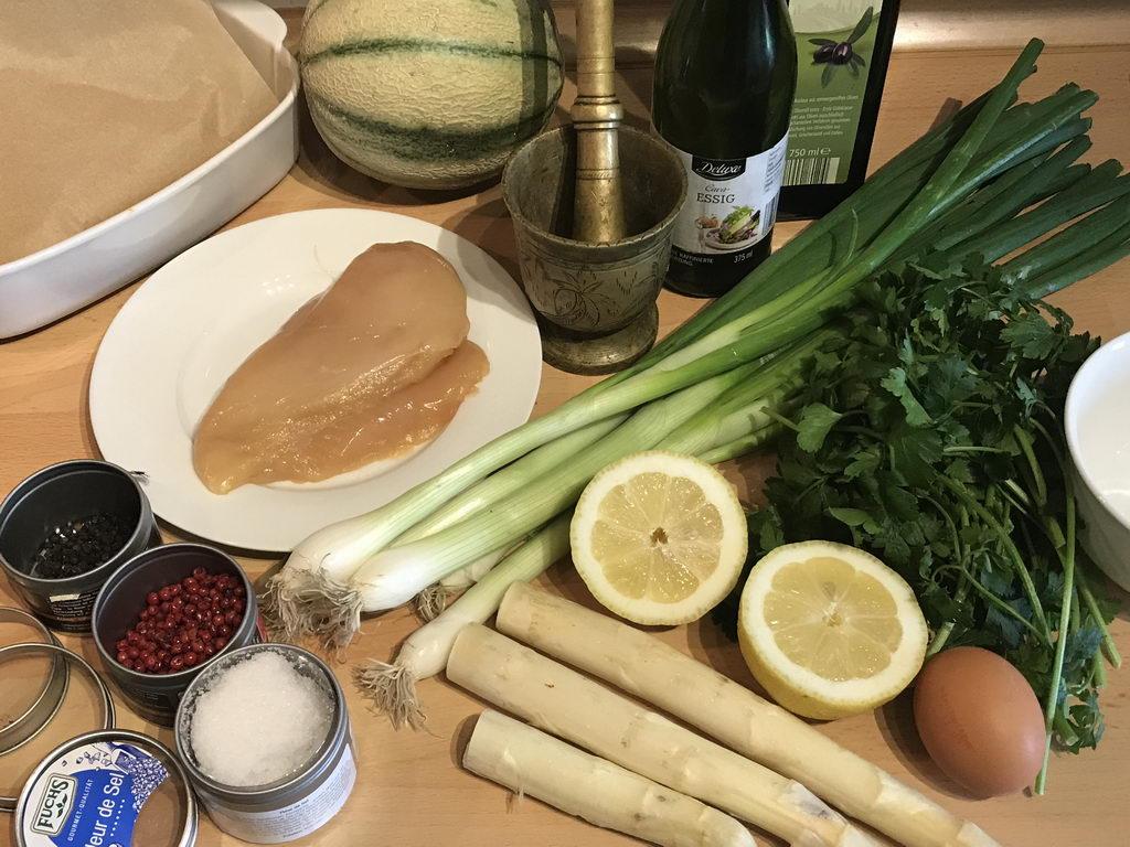 Spargel gebacken mit Vinaigrette und Poularde - Zutaten