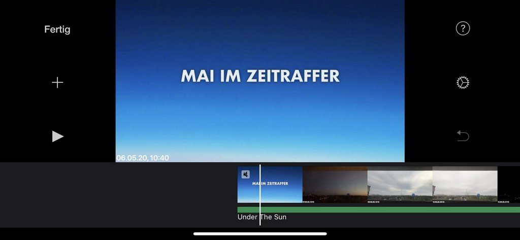 Storyboard in iMovie für Zeitraffer-Video im Mai