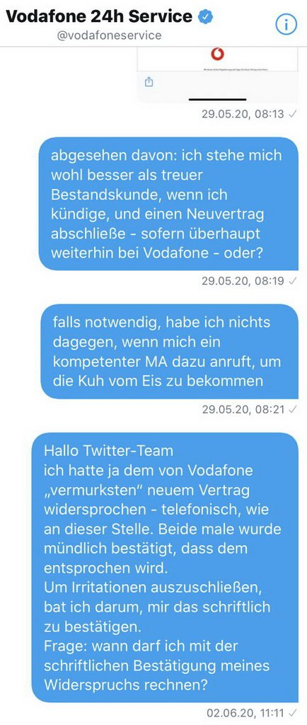 Twitter - Widerspruch Vertrag DSL 50
