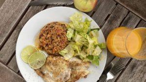 Rotbarsch - Tomatenreis - Salat