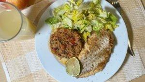 Rotbarsch naturell - Tomatenreis - Salat 29-12