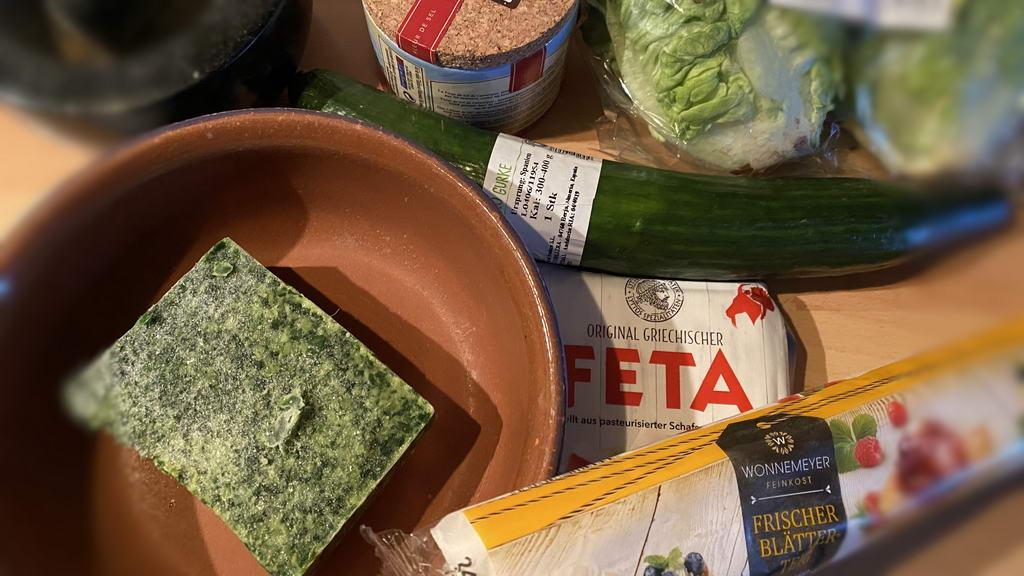 Blätterteigtaschen gefüllt mit Spinat und Feta - Zutaten