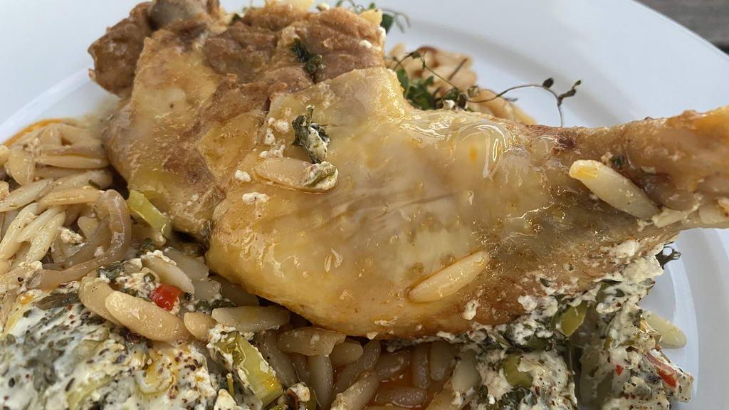 Poulardenkeule-Kritharaki-Pfanne aus dem Ofen