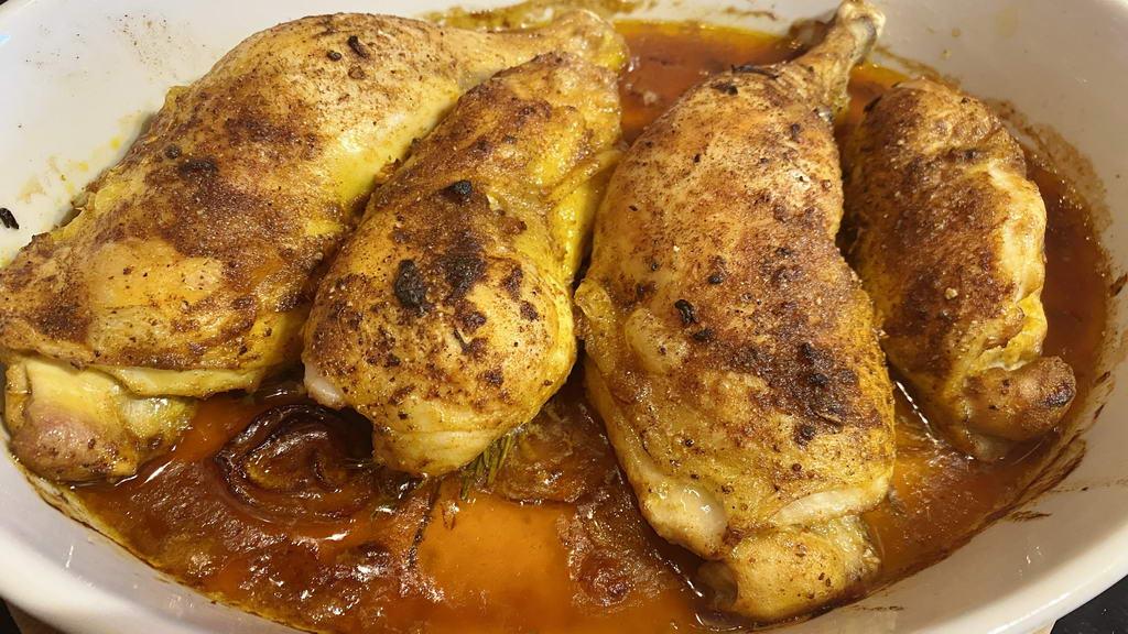 Poulardenkeule-Kritharaki-Pfanne aus dem Ofen - anbraten