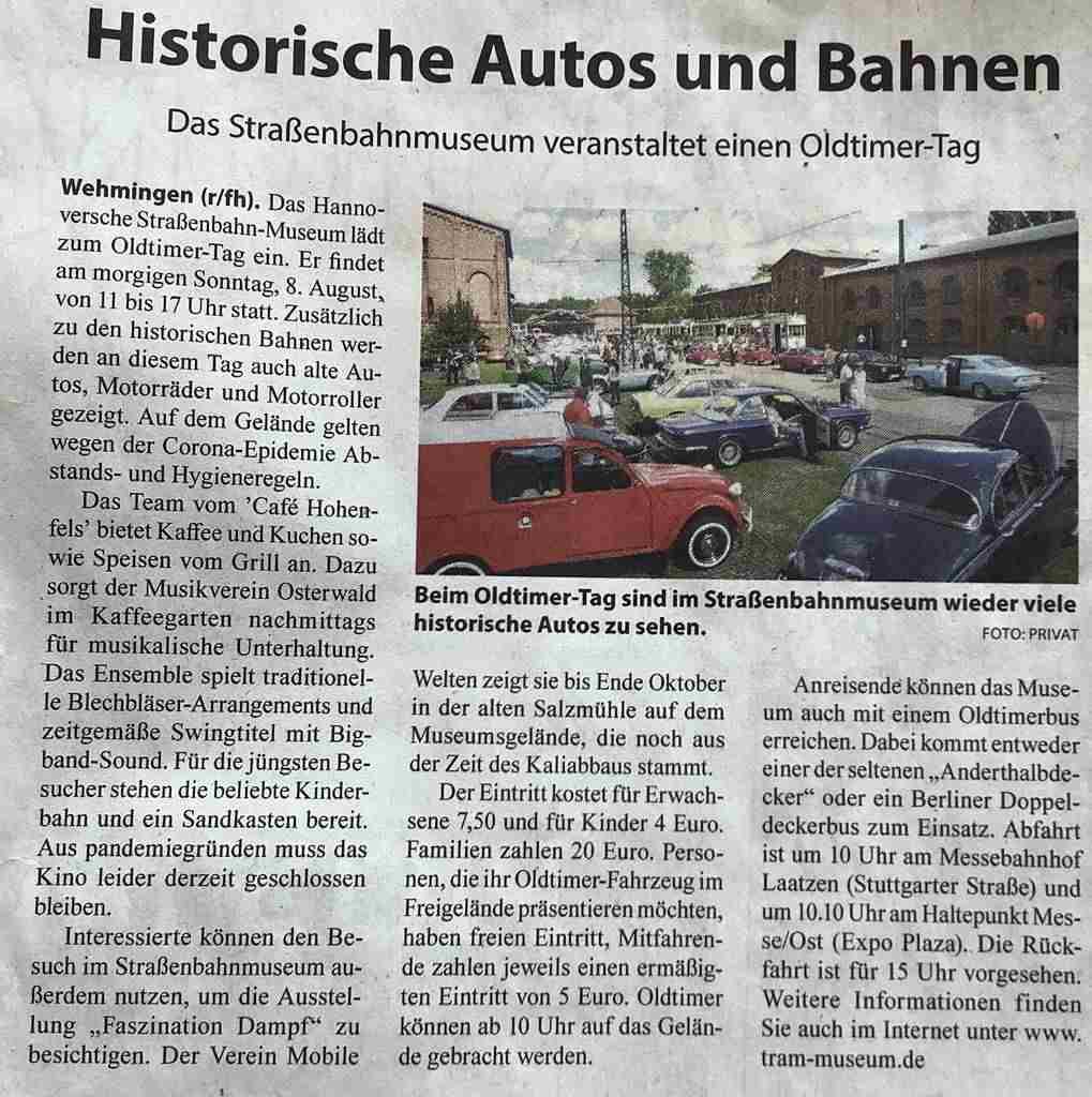 Artikel im Marktspiegel Hannoversches-Strassenbahn-Museum